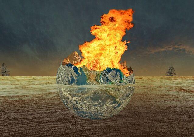 Terra destruída por uma catástrofe, visão artística (imagem referencial)