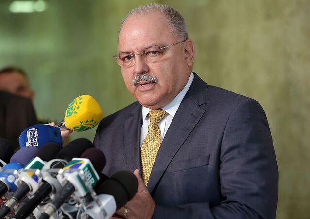 O ministro-chefe do Gabinete de Segurança Institucional (GSI), Sérgio Etchegoyen, concede entrevista no Palácio do Planalto