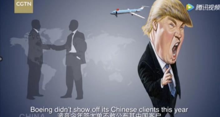 China Global Television Network zomba do presidente dos EUA, Donald Trump, quanto à guerra comercial contra a China.