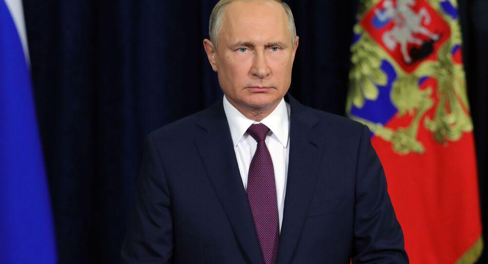 O presidente russo, Vladimir Putin, no Fórum Internacional Técnico-Militar EXÉRCITO 2018