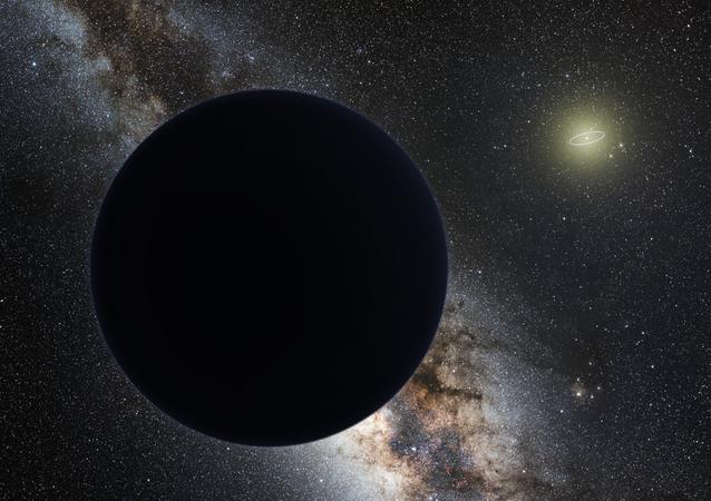 Impressão artística do Planeta Nove como um gigante de gelo eclipsando a Via Láctea central, com um Sol ao fundo. A órbita de Netuno é mostrada como uma pequena elipse ao redor do Sol