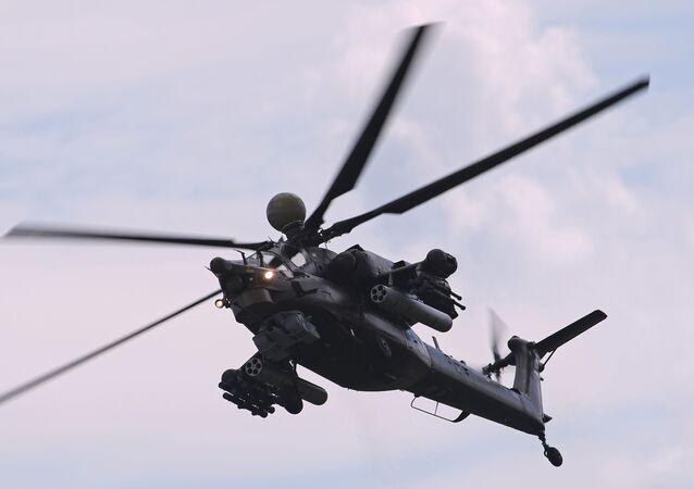 Helicóptero de combate Mi-28NM durante o salão MAKS-2017, no polígono de Zhukovsky (foto de arquivo)