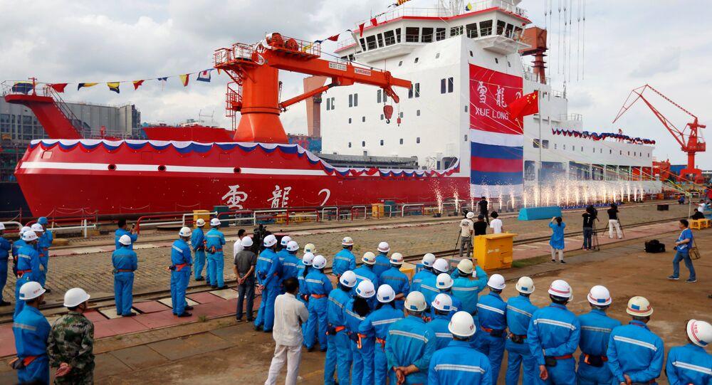 Cerimônia de lançamento do Xuelong 2, o primeiro quebra-gelo totalmente fabricado na China,  Xangai, 10 de setembro de 2018