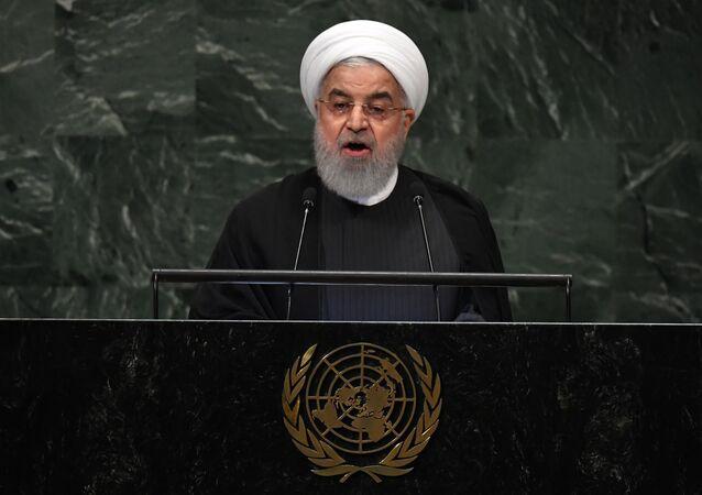 Hassan Rouhani, presidente do Irã, em discurso na 73ª Assembleia Geral das Nações Unidas, em Nova York