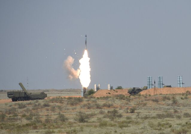 S-300 anti-aircraft missile system during the Keys to the Sky international competition held as part of the International Army Games - 2016 at the Ashuluk training ground