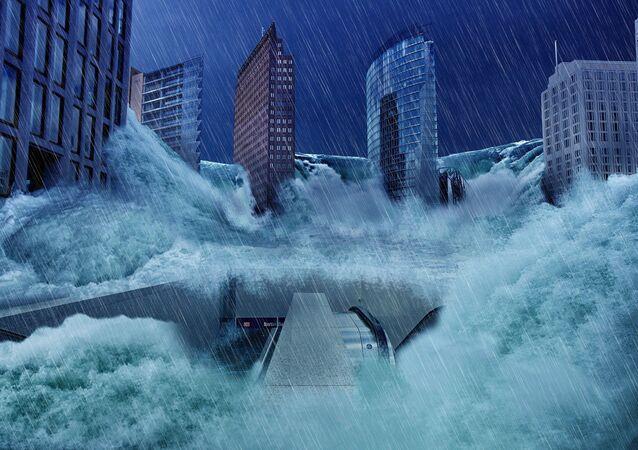 Inundação afeta uma cidade moderna (apresentação artística)