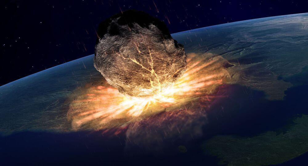 Asteroide colidindo com a Terra (imagem ilustrativa)