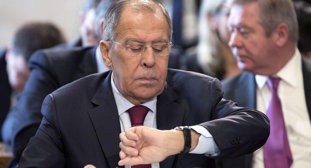 Ministro das Relações Exteriores da Rússia, Sergei Lavrov, em conferência sobre o Afeganistão em Genebra, Suíça