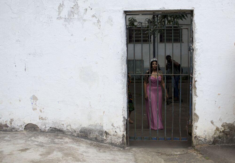 Mayana Rosa Alves, vencedora do Garota TB 2017, participa novamente do concurso de beleza na Penitenciária Talavera Bruce, no Rio de Janeiro (Brasil), 4 de dezembro de 2018