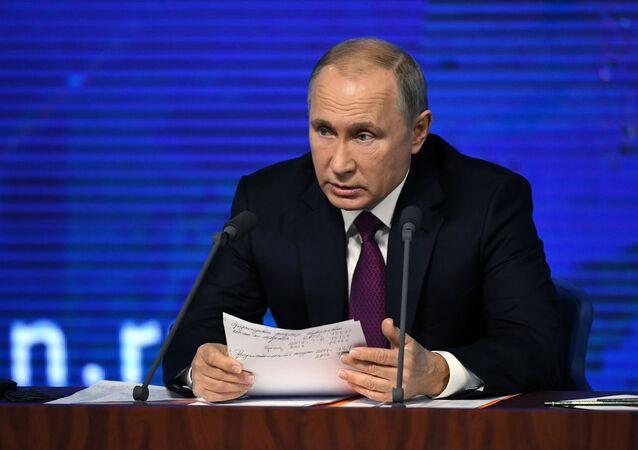 Vladimir Putin, presidente da Rússia, durante coletiva de imprensa (arquivo)