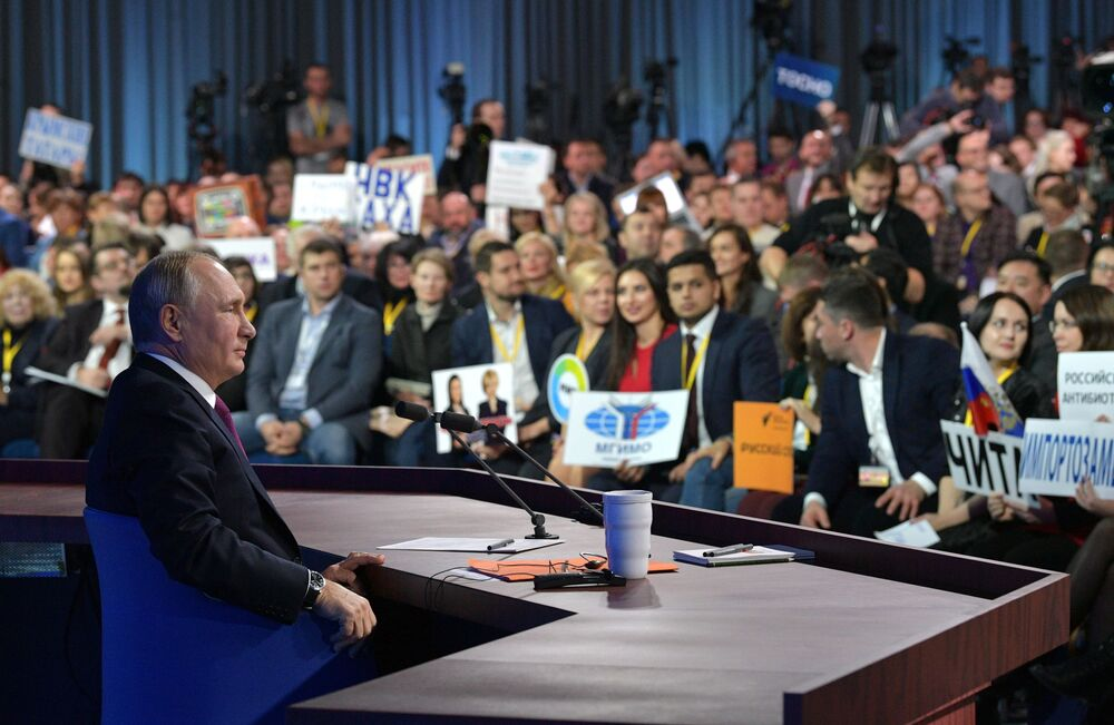 Presidente russo, Vladimir Putin, durante tradicional conferência de imprensa anual em Moscou