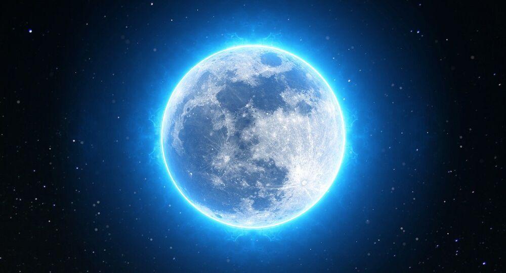 Vista da Lua brilhante (apresentação artística)