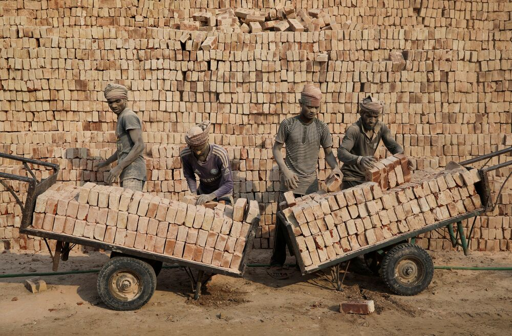 Trabalhadores de fábrica de tijolos, Bangladesh
