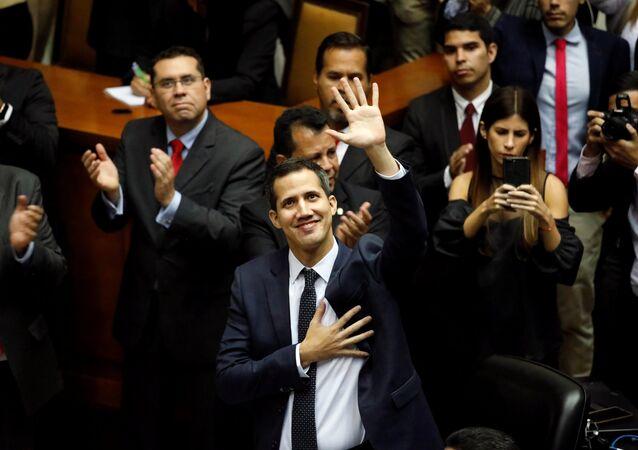 O opositor venezuelano e presidente da Assembleia Nacional, Juan Guaidó.