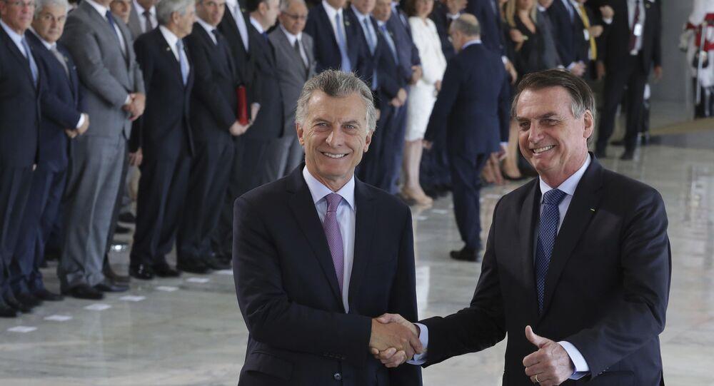 Presidente da Argentina, Mauricio Macri, e o presidente do Brasil, Jair Bolsonaro, em Brasília.
