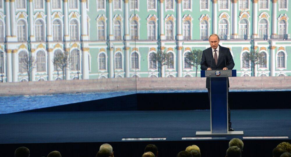 O presidente russo, Vladimir Putin, durante discurso no Fórum Econômico Internacional de São Petersburgo