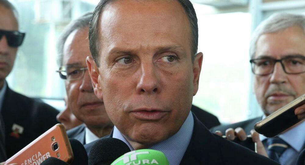 O governador de São Paulo, João Doria, fala à imprensa