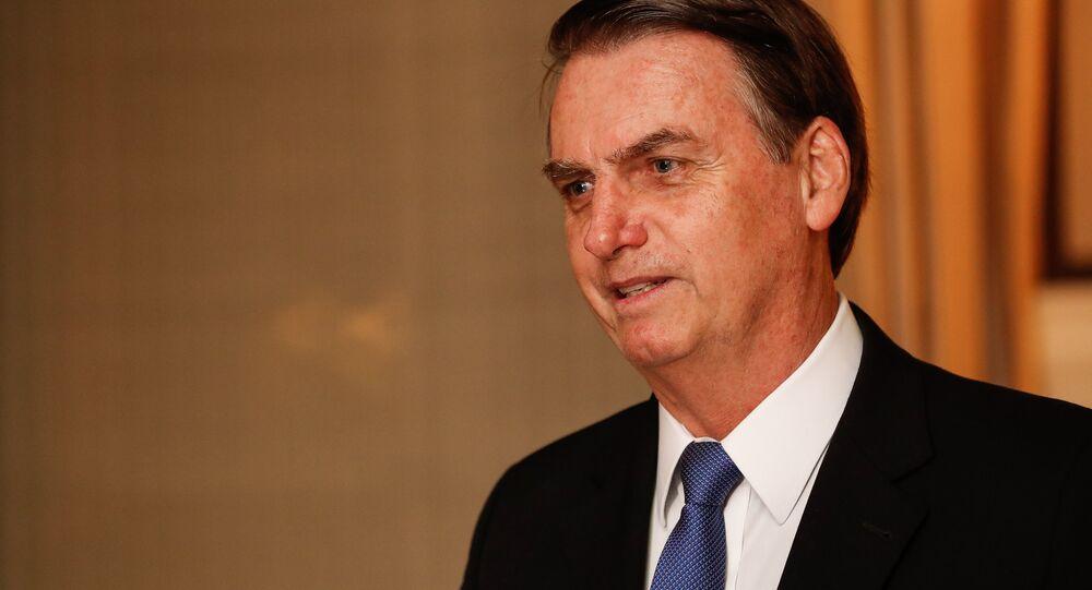 Presidente do Brasil, Jair Bolsonaro, durante jantar em Washington, na Embaixada do Brasil nos EUA