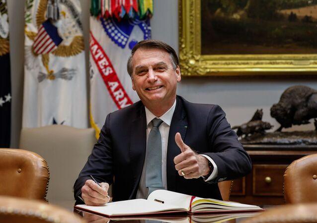 O presidente do Brasil, Jair Bolsonaro, durante encontro com o presidente dos EUA, Donald Trump, na Casa Branca, em Washington (EUA)