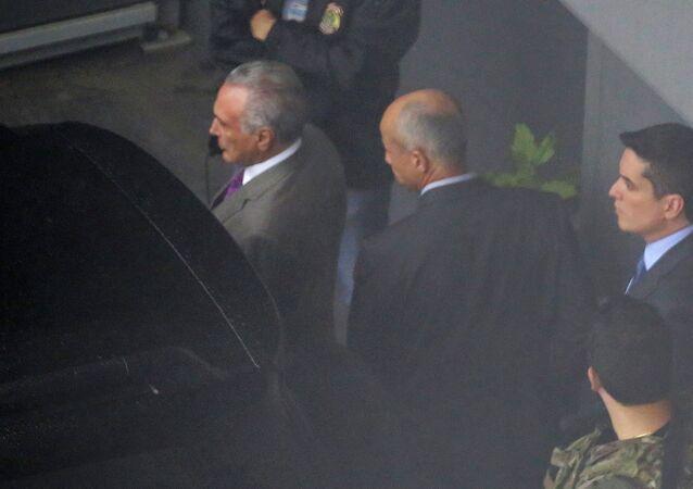 Michel Temer é visto no Aeroporto Internacional de São Paulo no dia da detenção, 21 de março de 2019