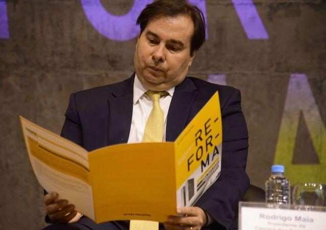 O presidente das Câmara dos Deputados, Rodrigo Maia, participa do seminário Reforma da Previdência - uma Reflexão Necessária, no Centro Cultural da FGV, no Rio de Janeiro