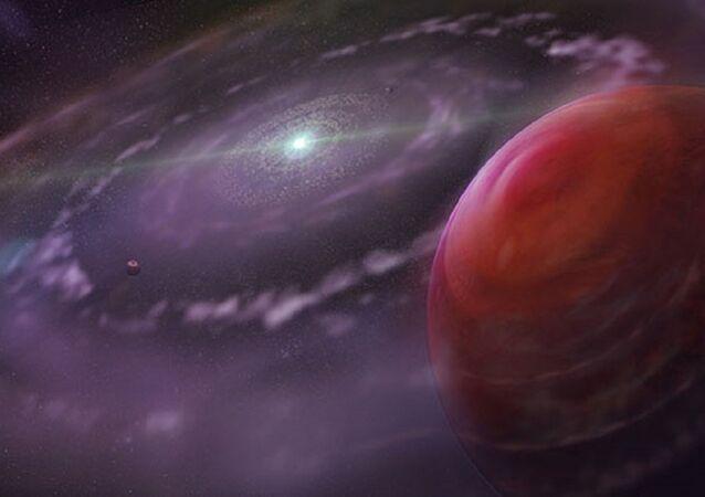 Sistema estelar HR 8799 (representação artística)