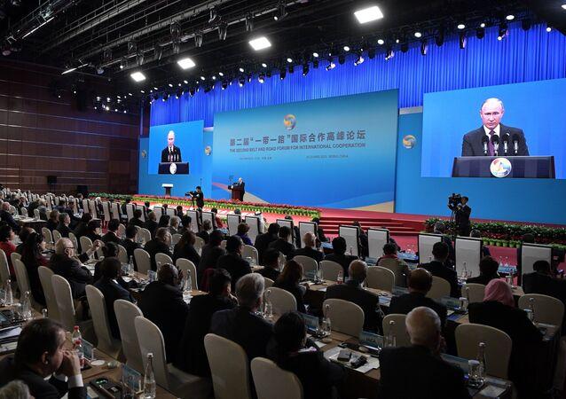 O presidente russo, Vladimir Putin na cerimônia de abertura do 2º Fórum Um Cinturão, Uma Rota em Pequim.