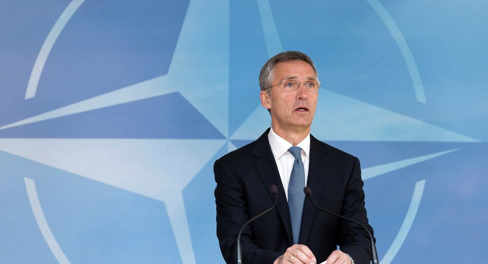 NATO Secretary General Jens Stoltenberg speaks during a media conference at EU headquarters in Brussels on Wednesday, June 24, 2015.