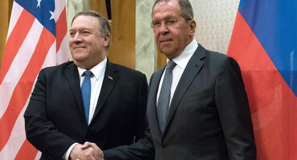Secretário de Estado dos EUA, Mike Pompeo, e  chanceler russo, Sergei Lavrov, 14 de maio de 2019