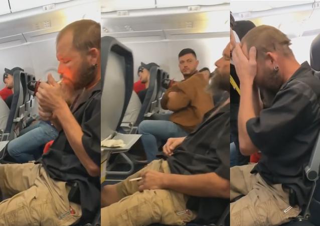 Passageiro acendendo cigarro durante voo nos Estados Unidos