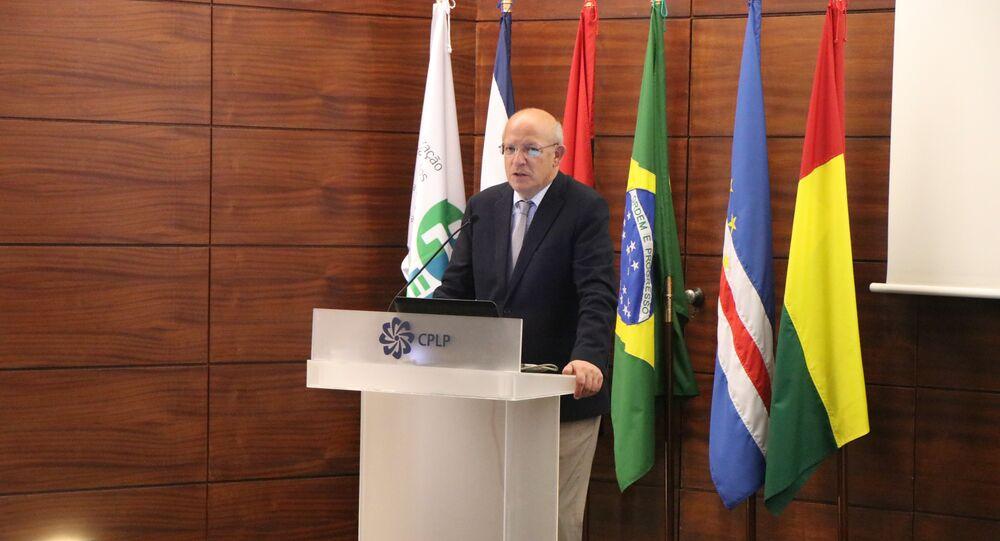 Ministro dos Negócios Estrangeiros de Portugal, Augusto Santos Silva, discursa durante a apresentação do Programa de Mobilidade Acadêmica Paulo Freire - PALOP, da Organização de Estados Ibero-americanos para a Educação, a Ciência e a Cultura (OEI), Lisboa, 27 de maio de 2019