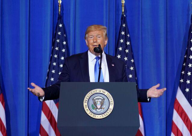 Presidente dos EUA Donald Trump na cúpula do G20 em Osaka, Japão