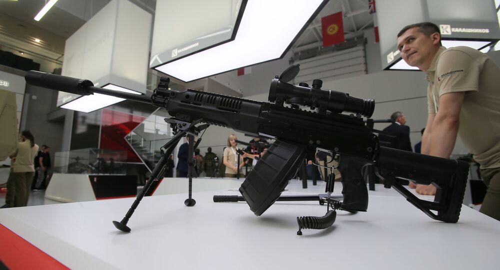 Metralhadora RPK-16 da Kalashnikov exibida no fórum técnico-militar EXÉRCITO 2017, na Rússia