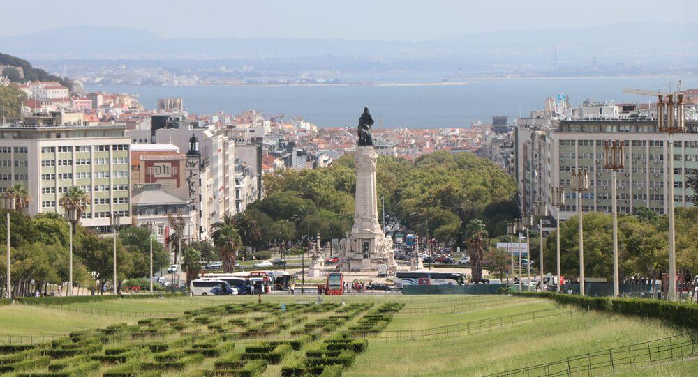 Praça da Figueira, centro de Lisboa, em Portugal.