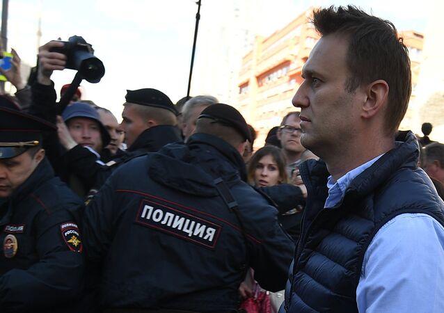 Aleksei Navalny durante manifestação em Moscou, Rússia