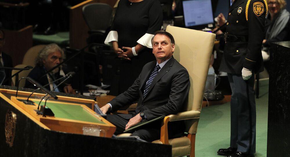 O presidente do Brasil, Jair Bolsonaro, prestes a discursar na abertura da 74ª Assembleia Geral da Organização das Nações Unidas (ONU), no dia 24 de setembro de 2019.
