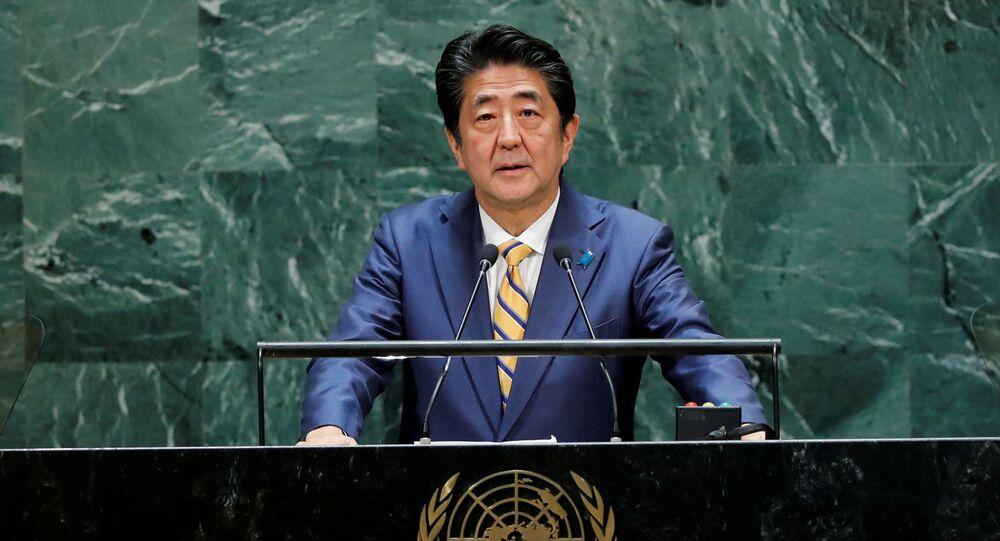 Shinzo Abe, primeiro-ministro do Japão, discursando na 74ª Assembleia Geral das Nações Unidas