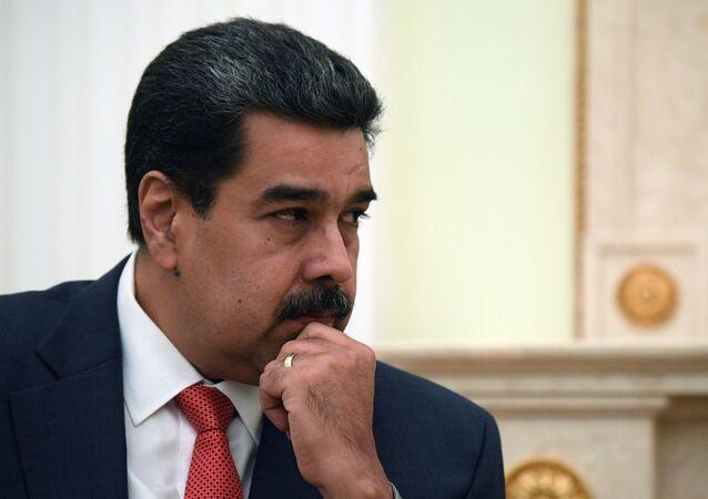 Presidente venezuelano, Nicolás Maduro durante reunião com presidente russo, Vladimir Putin