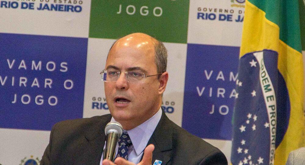 Governador do Rio de Janeiro, Wilson Witzel, participa de uma coletiva de imprensa no Palácio Guanabara (foto de arquivo)