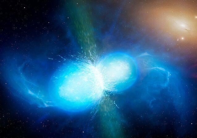 Fusão de duas estrelas de nêutrons (imagem ilustrativa)