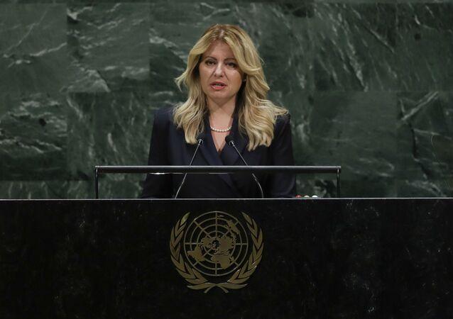 Zuzana Caputova, presidente da Eslováquia, discursa na Assembleia Geral da ONU