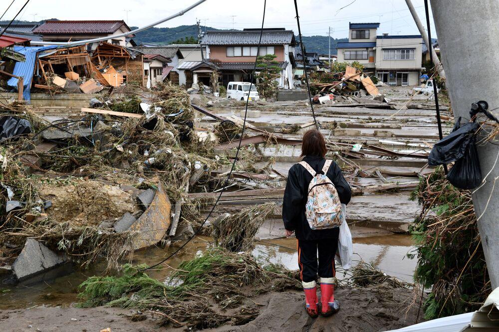 Consequências do tufão Hagibis na cidade de Nagano, Japão