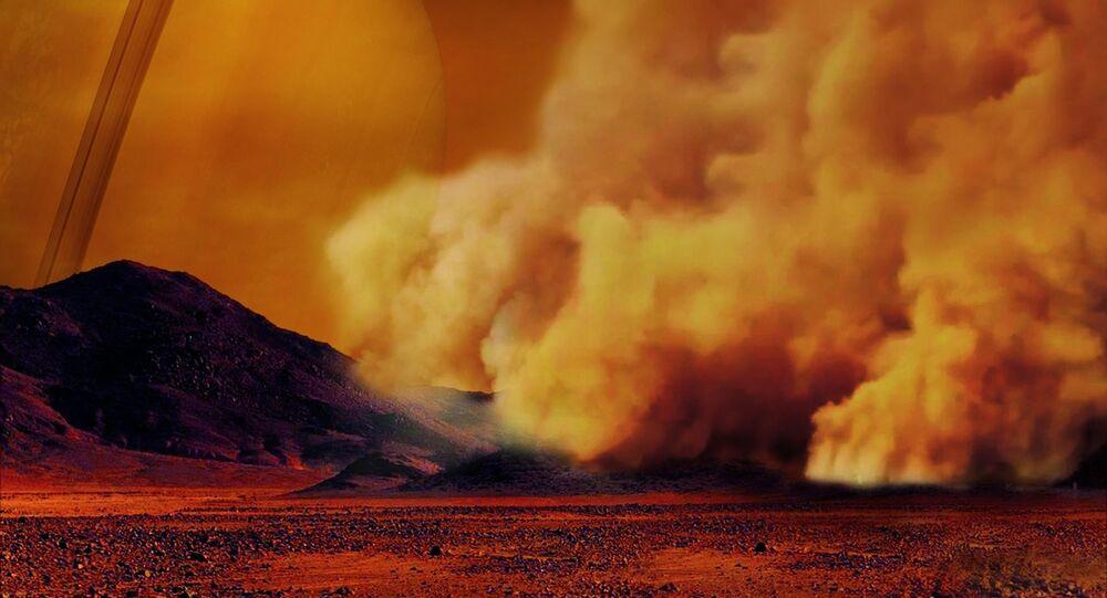 Reprodução artística de uma tempestade de areia em Titã