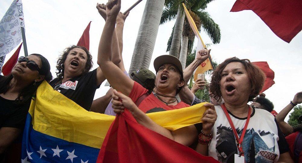 Ato contra invasão da embaixada da Venezuela em Brasília