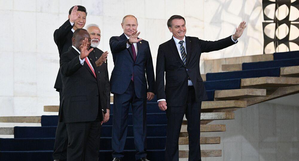 Líderes do BRICS reunidos na 11ª Cúpula de Chefes de Estado de Brasília, em 13 de novembro de 2019
