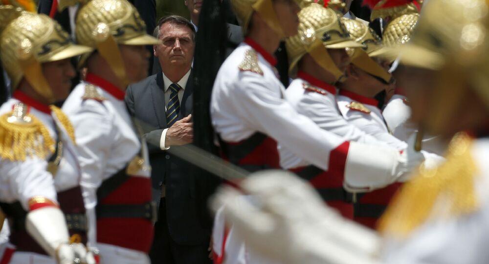 Presidente Bolsonaro durante a celebração do Dia da Bandeira Nacional em Brasília