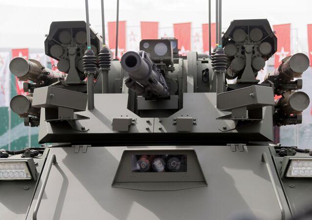 Sistema robótico multifuncional do exército russo BMRK Uran-9, durante apresentação do fórum Exército 2019, no parque Patriota, na região de Moscou