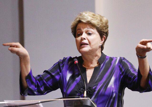 A ex-presidente Dilma Rousseff durante o 7º Congresso do Partido dos Trabalhadores (PT), na Casa de Portugal em São Paulo (SP).