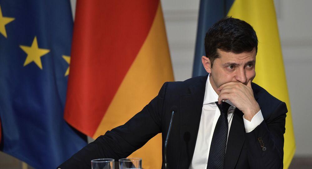Presidente da Ucrânia, Vladimir Zelensky, durante a conferência de imprensa do Quarteto da Normandia, em 9 de dezembro de 2019