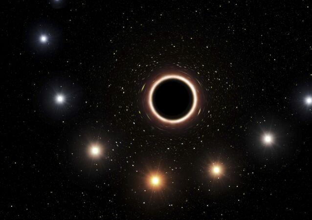 Representação de buraco negro supermassivo fornecida pelo Observatório Europeu do sul em julho de 2018
